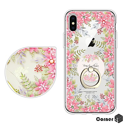 Corner4 iPhoneX 奧地利彩鑽指環扣雙料手機殼-春華