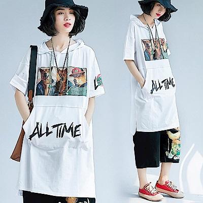 街頭風美式印花連帽長版T恤-F-Keer