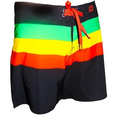 WAXX 綠黃紅橫條紋黑色高質感吸濕排汗男性海灘褲