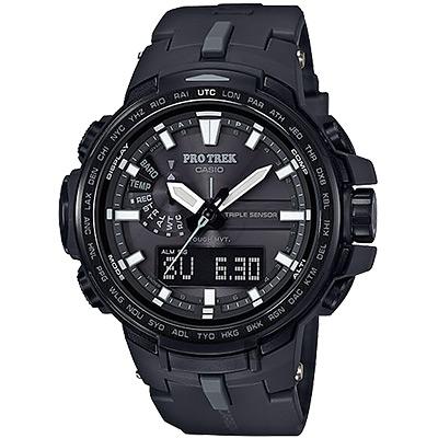 CASIO 卡西歐 PRO TREK 專業登山太陽能電波手錶-黑/58mm
