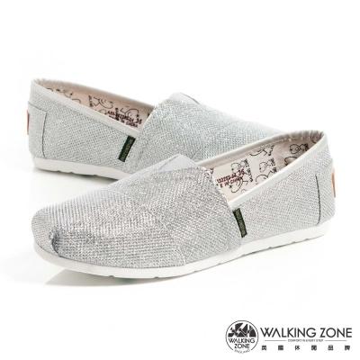 WALKING ZONE 奢華輕巧舒適國民便鞋女鞋-銀