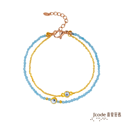 J code真愛密碼金飾 簡約黃金/石英手鍊