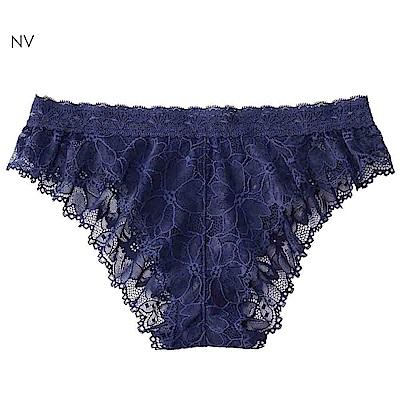 aimerfeel 性感全蕾絲緞帶半臀內褲-海軍藍