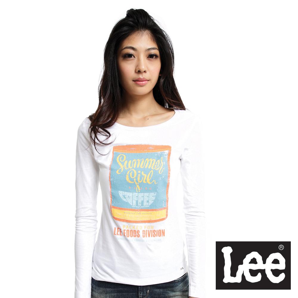 【Lee】回歸起源 圓領龜裂設計罐頭印刷圖案長袖T恤-女款(米白)