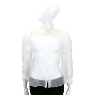 ALBERTA FERRETTI 白色透膚織花設計長袖襯衫