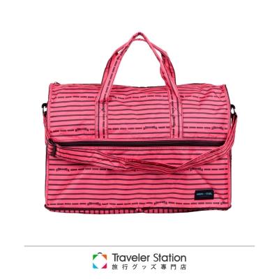 【HAPI+TAS 】橫條蝴蝶結摺疊旅行袋(小)-粉色