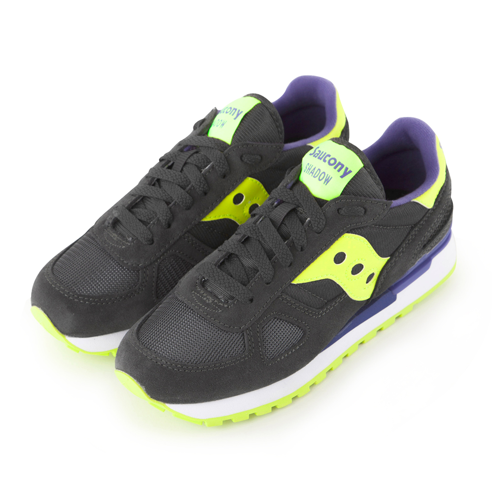 (女) 美國 SAUCONY 經典時尚休閒輕量慢跑球鞋-鐵灰螢光黃