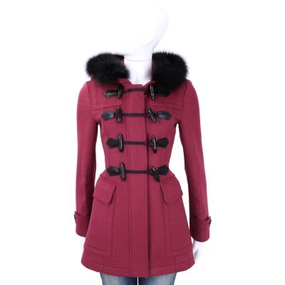 BURBERRY 可拆式連帽皮草飾邊羊毛牛角扣大衣