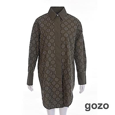 gozo 英倫復古波卡點點長版襯衫(二色)