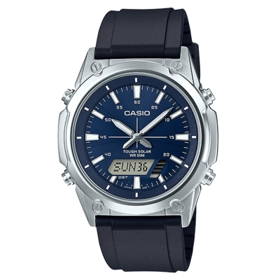 CASIO 實用商務雙重顯示太陽能電力雙顯錶(AMW-S820-2A)藍面X黑/41.1mm