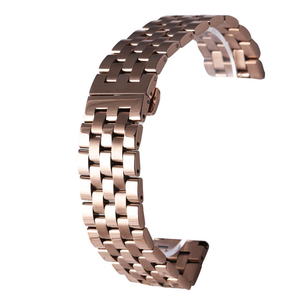 PARNIS BOX 22mm 代用錶帶 雙向按壓鋼帶 不鏽鋼 IP電鍍 五排款 玫瑰金