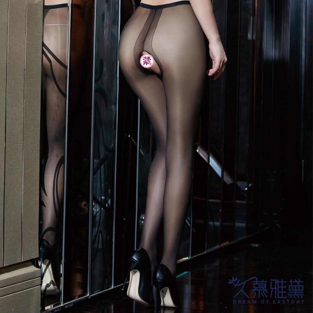 絲襪褲 超薄性感開檔黑色 久慕雅黛