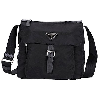 PRADA Vela 單釦帶設計尼龍斜背包(黑色)