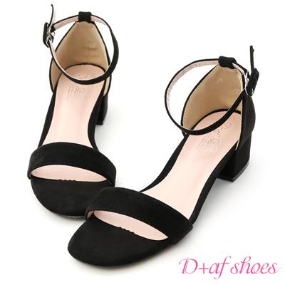 D+AF 夏日定番.一字繫踝方頭低跟涼鞋*黑