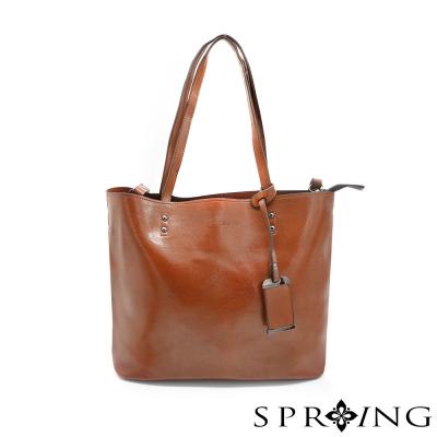 SPRING-優雅生活真皮托特包-時尚棕