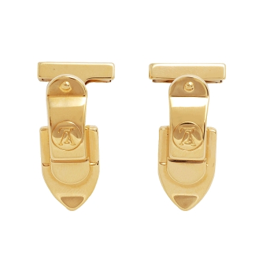 LV M64495 經典Damier棋盤格金色黃銅碰鎖造型袖扣組(金)