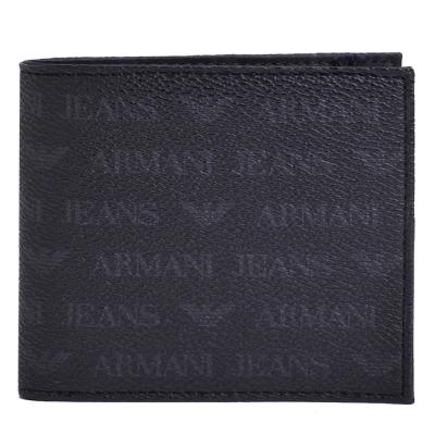 ARMANI JEANS 經典排列LOGO四卡零錢短夾(黑)