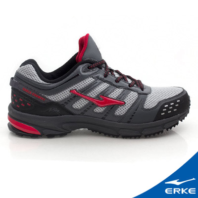 ERKE 鴻星爾克。男運動登山越野跑鞋-深灰/大紅