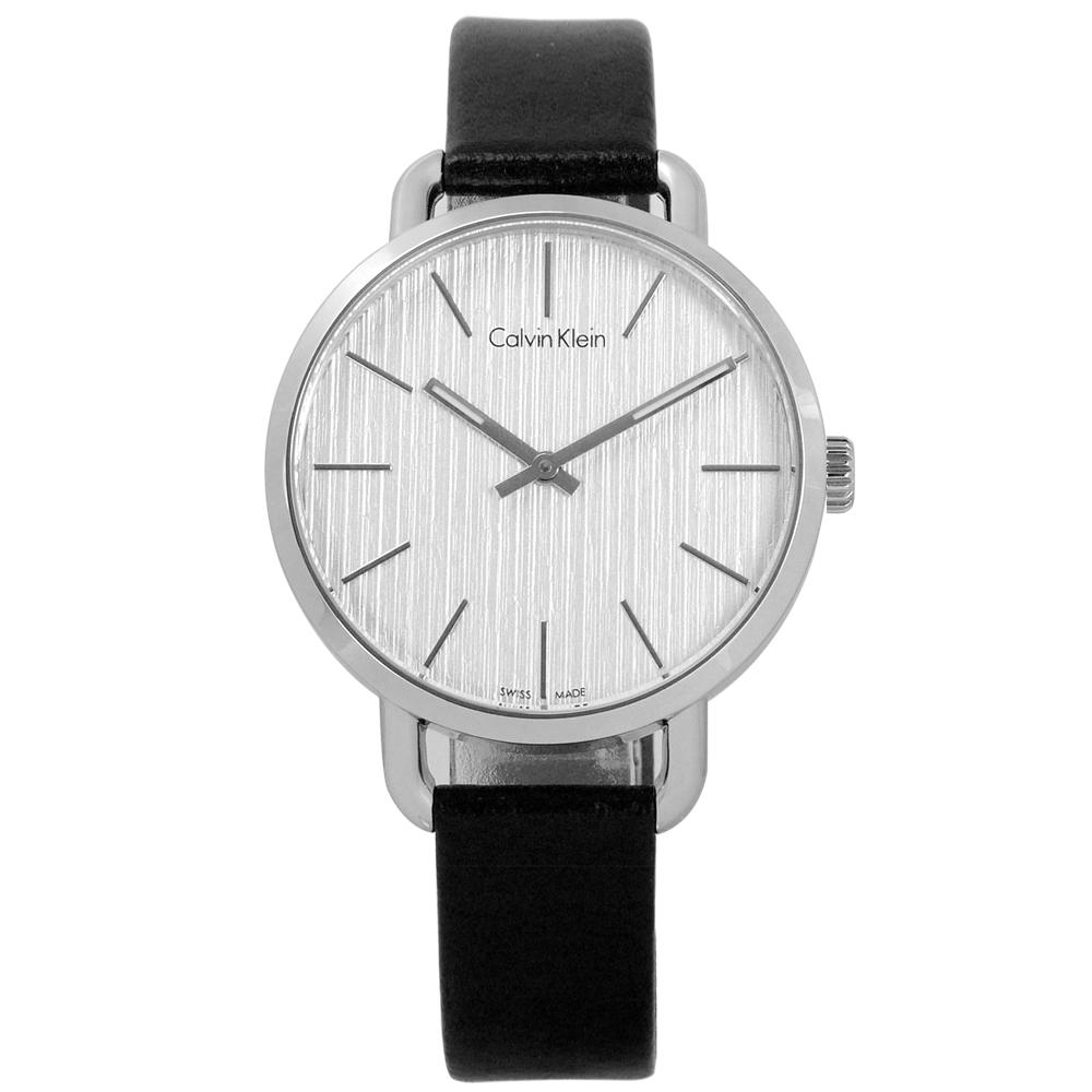 CK EVEN 沉靜雅緻岩紋皮革女錶-銀白x黑/36mm
