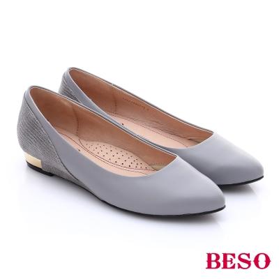BESO-簡約知性-素色真皮拼接壓紋金屬低跟鞋-灰