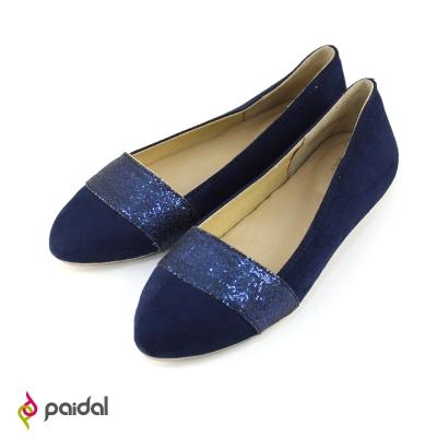 Paida氣質緞帶百搭尖頭包鞋尖頭鞋-華麗藍