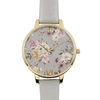 Olivia Burton 英倫復古手錶 迷幻花園花季 灰色真皮錶帶 灰表面金框 38mm