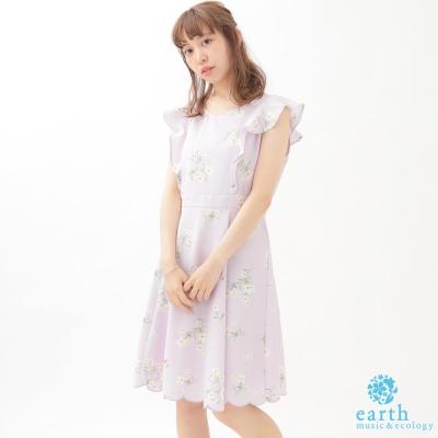 earth music 浪漫花朵荷葉袖洋裝