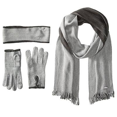 Calvin Klein針織髮帶圍巾手套組(淺灰)