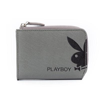 PLAYBOY-Fusion-融合色變系列-L拉鍊零錢包-深灰色