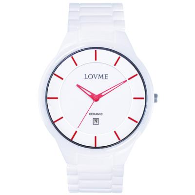 LOVME Concise陶瓷時尚腕錶-白x紅/40mm