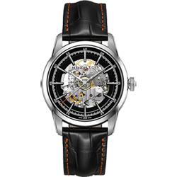 Hamilton AMERICAN CLASSIC鐵路系列鏤空機械腕錶-黑/42mm
