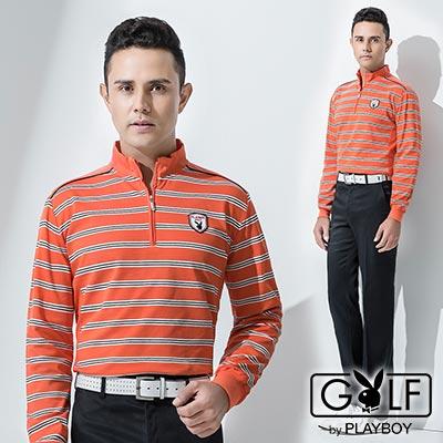 PLAYBOY-GOLF-經典立領修身拼接橫條POLO衫-橘-AA13221-25