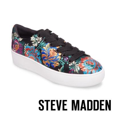 STEVE MADDEN-BRODY-BLACK 厚底刺繡綁帶鞋-黑色