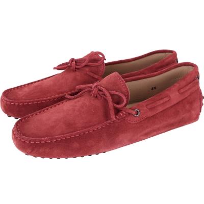 TOD'S Gommino Driving 麂皮綁帶豆豆休閒鞋(男鞋/紅色)