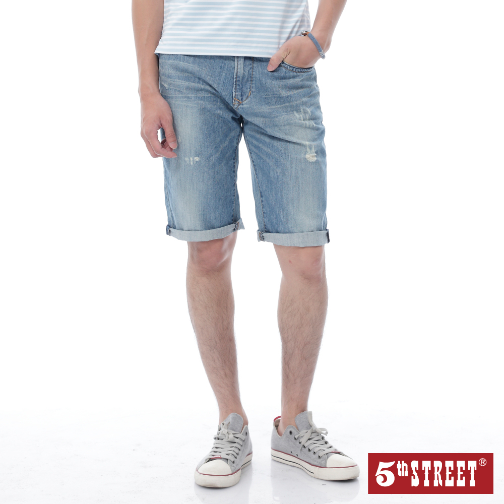 5th STREET 經典微刷破牛仔短褲-男-中古藍
