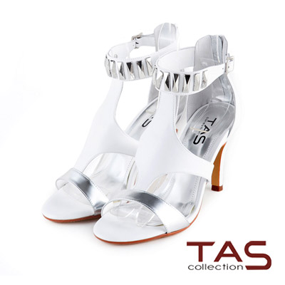 TAS-個性鉚釘踝繫帶金屬色拼接高跟羅馬涼鞋-時尚