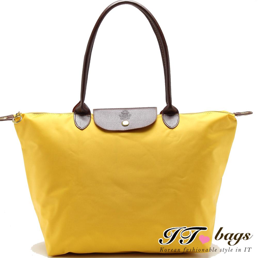 It Bags品牌經典法式尼龍摺疊水餃包-大(搶眼黃)(快)