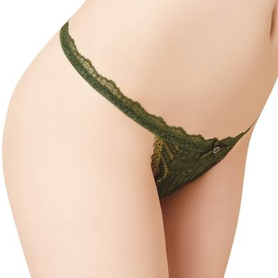 思薇爾 撩波系列M-XL蕾絲低腰丁字褲(棲綠色)