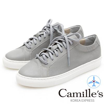Camille's 韓國空運-正韓製-牛皮經典綁帶休閒鞋-淺灰