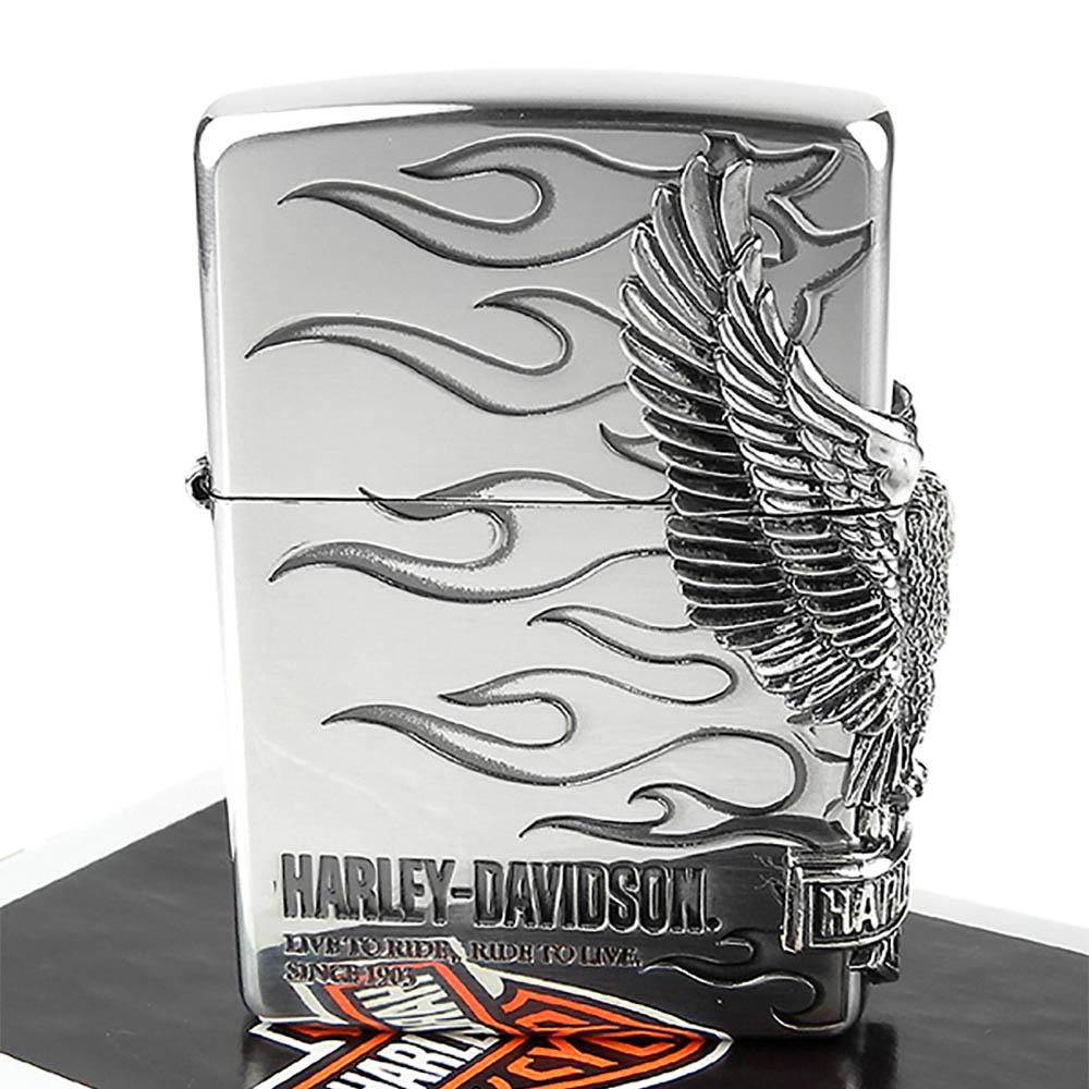 【ZIPPO】日系~Harley-Davidson-哈雷鷹-燻銀鍍色金屬加工打火機