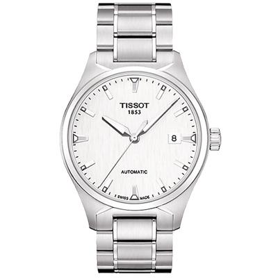 TISSOT T-Tempo 都會時尚機械腕錶-白/39mm T0604071103100