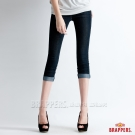 BRAPPERS 女款  新美腳Royal系列-女用彈性黑粉波浪鑲鑽七分反摺褲-藍