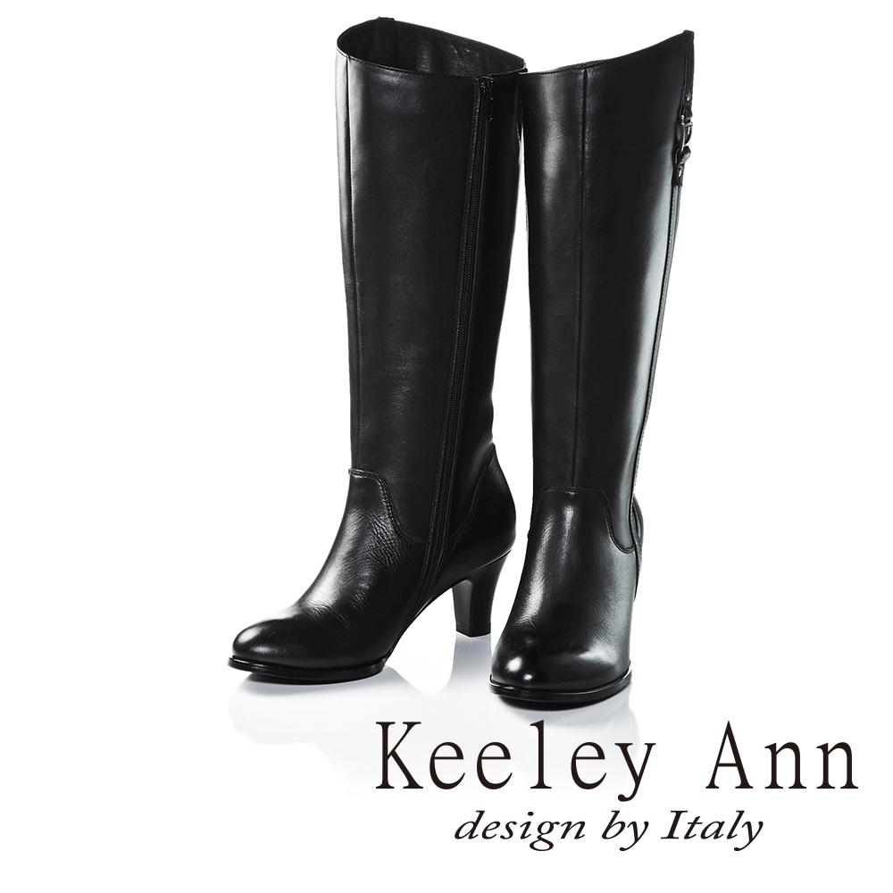 Keeley Ann極簡魅力金屬飾釦真皮中跟長靴(黑色)