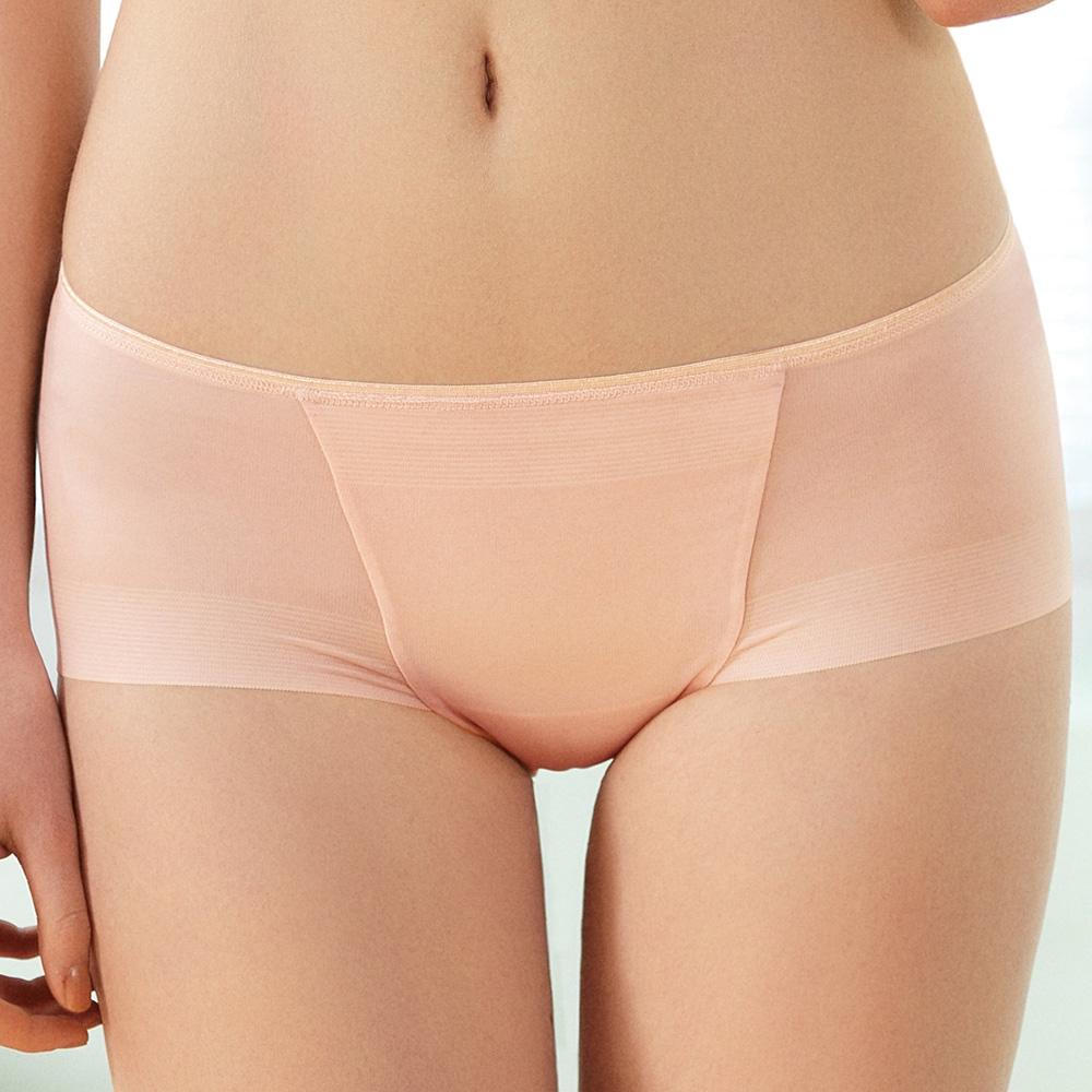 推EASY SHOP-沁涼素体美人 中腰平口褲(粉膚色)