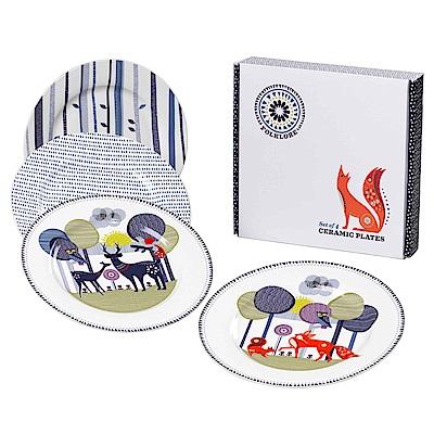 Wild & Wolf 英國 森林動物系列 瓷器餐盤四入組 23cm