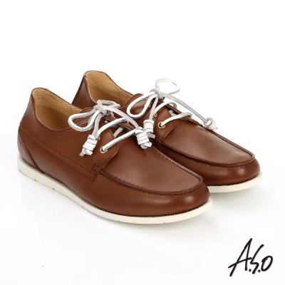 A.S.O 輕量抗震 蠟感真皮綁帶奈米帆船鞋 茶色