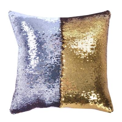 魔術雙色亮片方型抱枕/靠枕 (黃銀色)