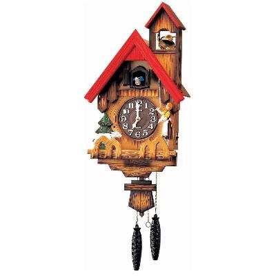 RHYTHM 日本麗聲 玩偶拉鈴 光控 咕咕鐘 木頭日製 掛鐘-31X65cm