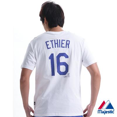 Majestic-道奇隊ETHIER背號16號T恤-白