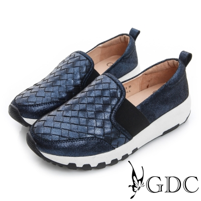 GDC舒適-真皮編織閃亮面料拼接厚底休閒鞋-藍色